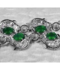 Браслет серебряный с зеленым агатом