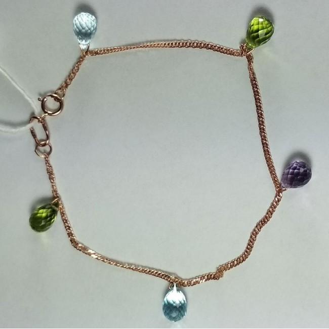 Золотой браслет с топазами, хризолитами, аметистом