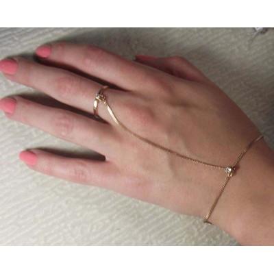Браслет золотой с кольцом