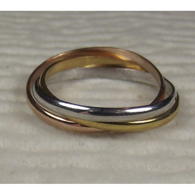 кольцо трехцветное серебро