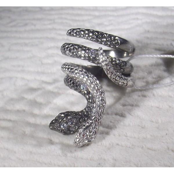 Кольцо серебряное змеи