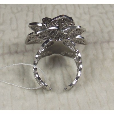 Кольцо серебряное роза