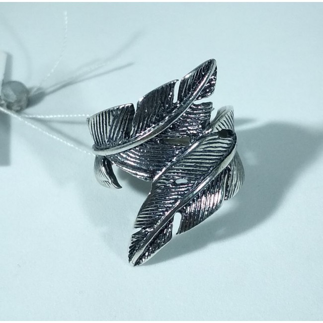 Кольцо перо серебро