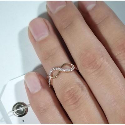 Кольцо золотое на фалангу с фианитами