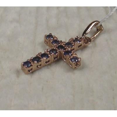 Крестик золотой с сапфирами