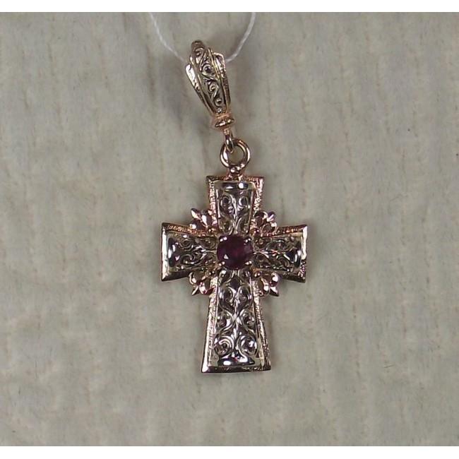 Крест золотой с рубином