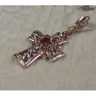 Крестик золотой с рубином