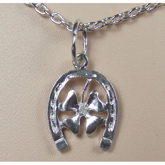 Кулон серебряный с бриллиантом
