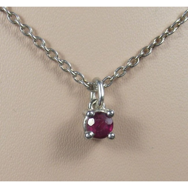 Кулон серебряный с рубином