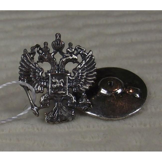 значок герб России серебро