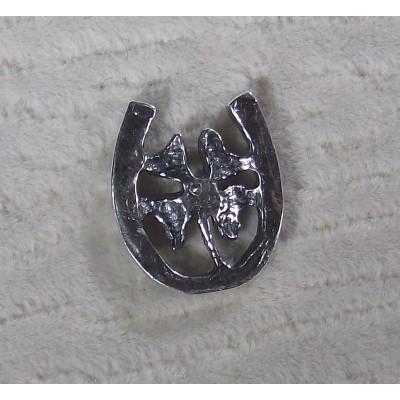 Подкова - четырехлистный клевер с фианитом