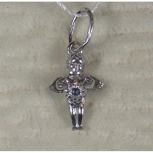 Подвеска серебряная ангел с сапфиром