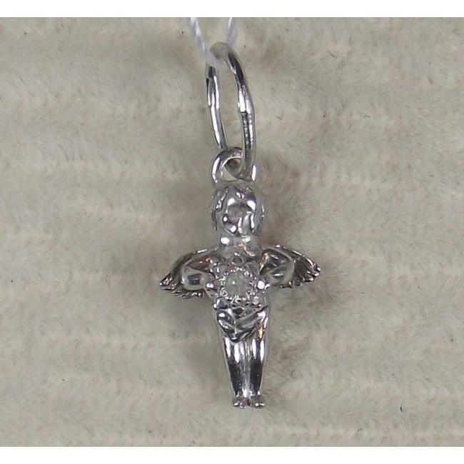 Подвеска серебряная ангел с бриллиантом