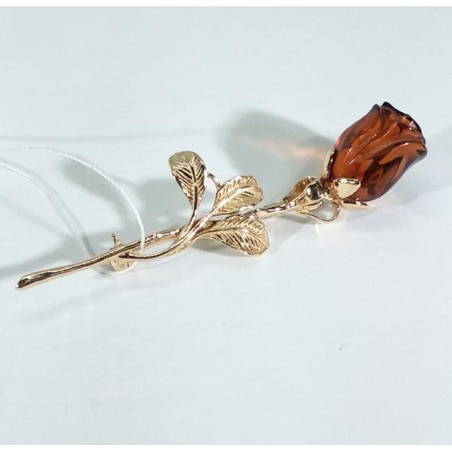 Брошь роза с янтарем