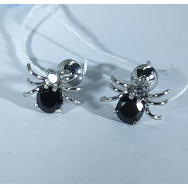 Серебряные серьги пауки