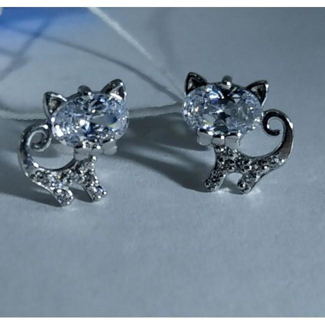 Серебряные серьги кошки
