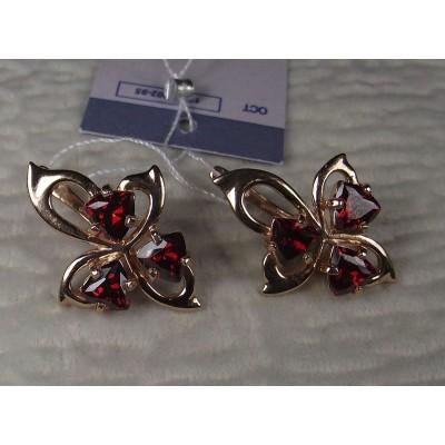 Серебряные серьги с позолотой, фианитами