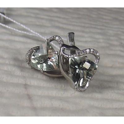 Серебряные серьги с зеленым аметистом