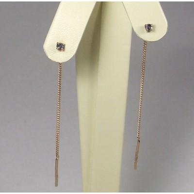 Золотые серьги продевки с сапфирами