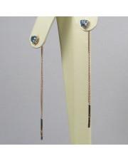 Золотые серьги продевки с топазом швейцарским