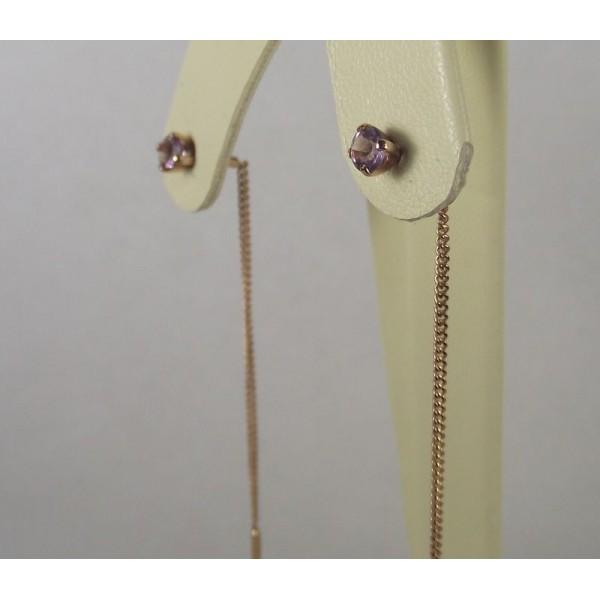 Золотые серьги продевки с аметистами